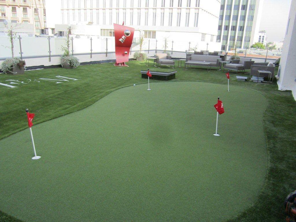 Commercial Putting green built with turf now artificial turf