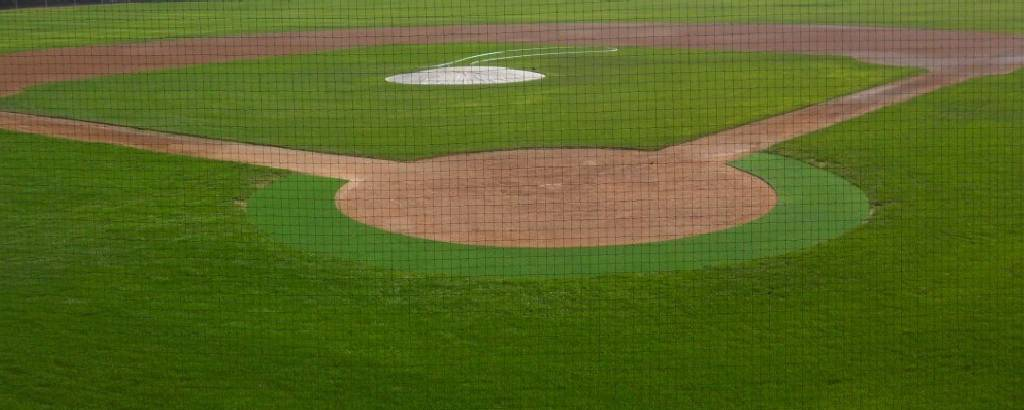 Baseball field with a mixture of artificial and natural turf